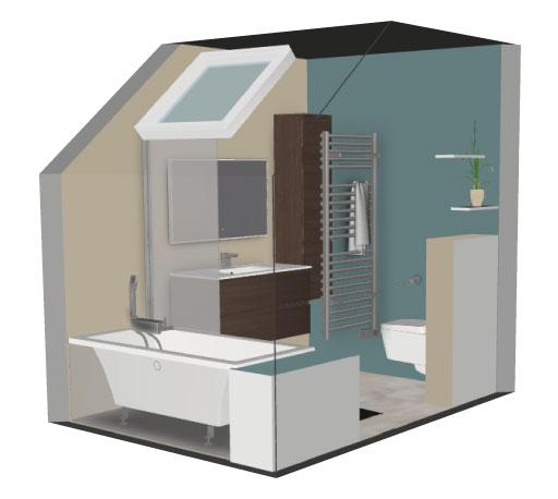 Salle de bain bathbox baignoire sous pente 3 4 m2 for Prix m2 salle de bain