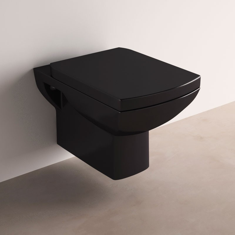 wc suspendu akari noir avec abattant. Black Bedroom Furniture Sets. Home Design Ideas