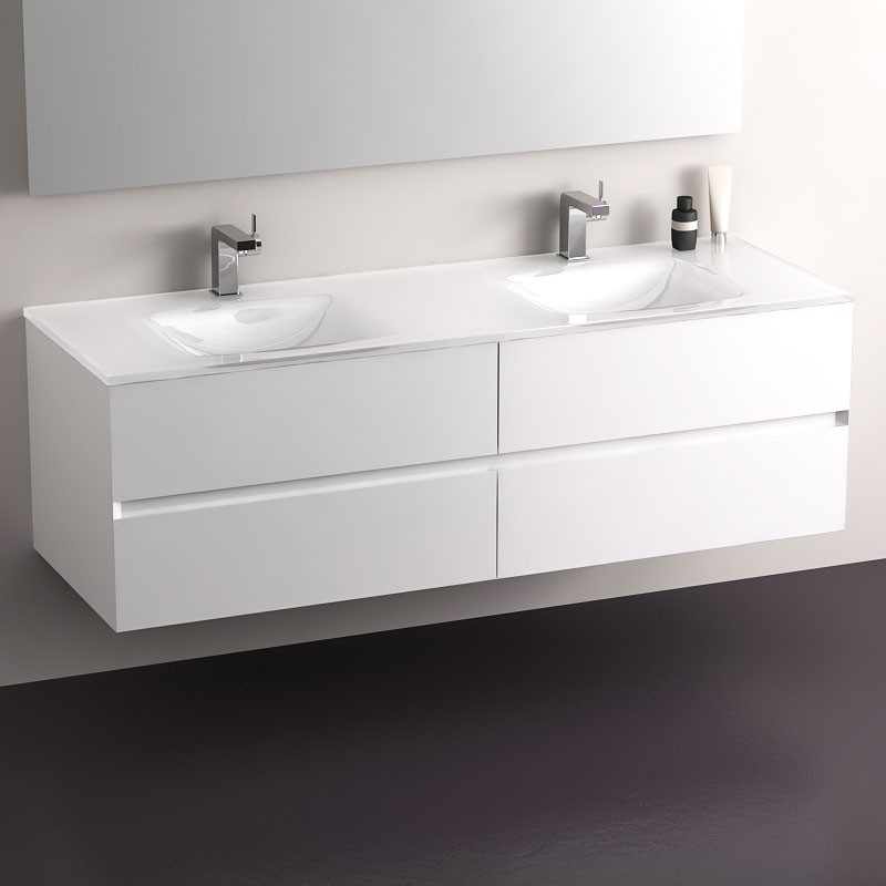 Meuble de salle de bain glass blanc brillant 150 cm for Meuble sdb blanc