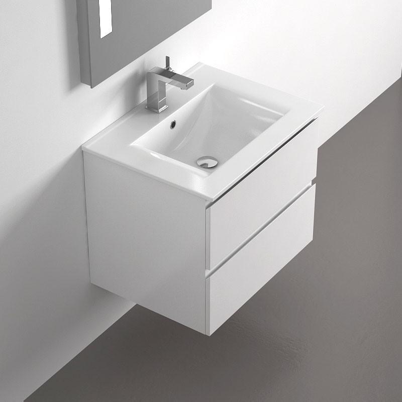 Meuble salle de bain 60 cm blanc 2 tiroirs plan for Meuble 60 cm