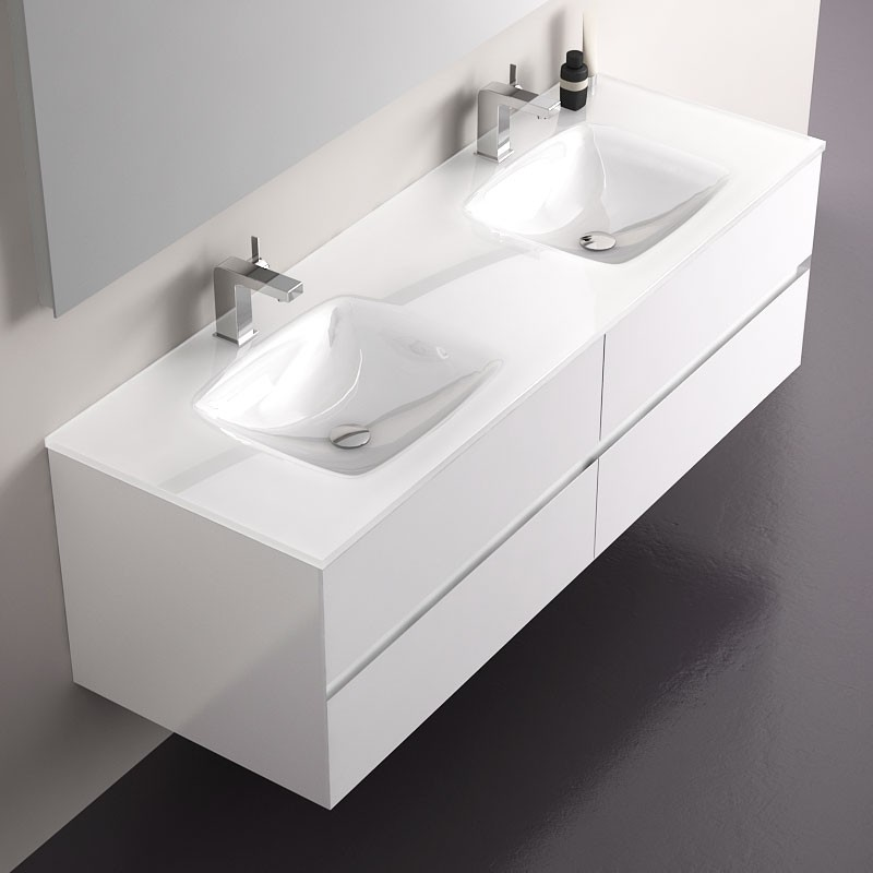 meuble salle de bain blanc 150 cm 4 tiroirs plan verre. Black Bedroom Furniture Sets. Home Design Ideas