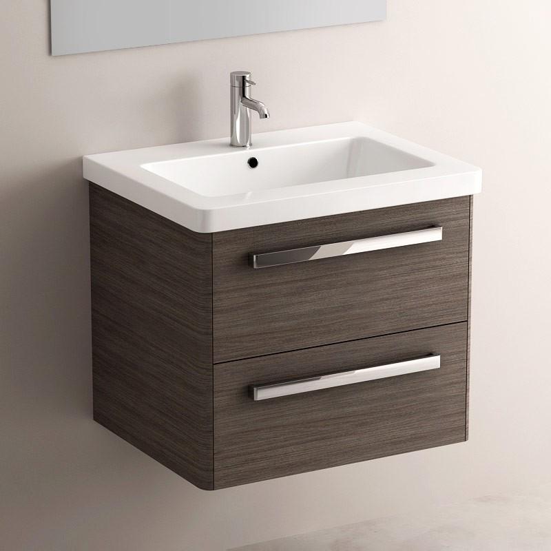 Meuble salle de bain gris c rus 62 cm plan c ramique easy - Meuble vasque 60 ...