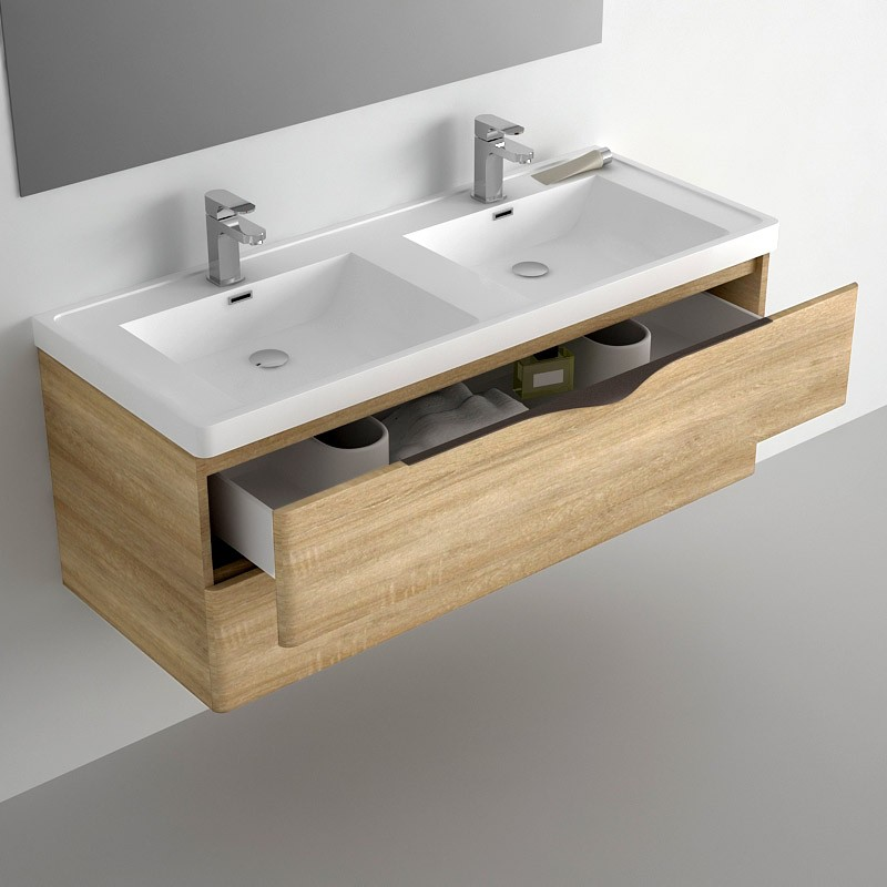 Furniture bathroom 120 cm oak 2 drawers composite plan for Meuble salle bain double vasque