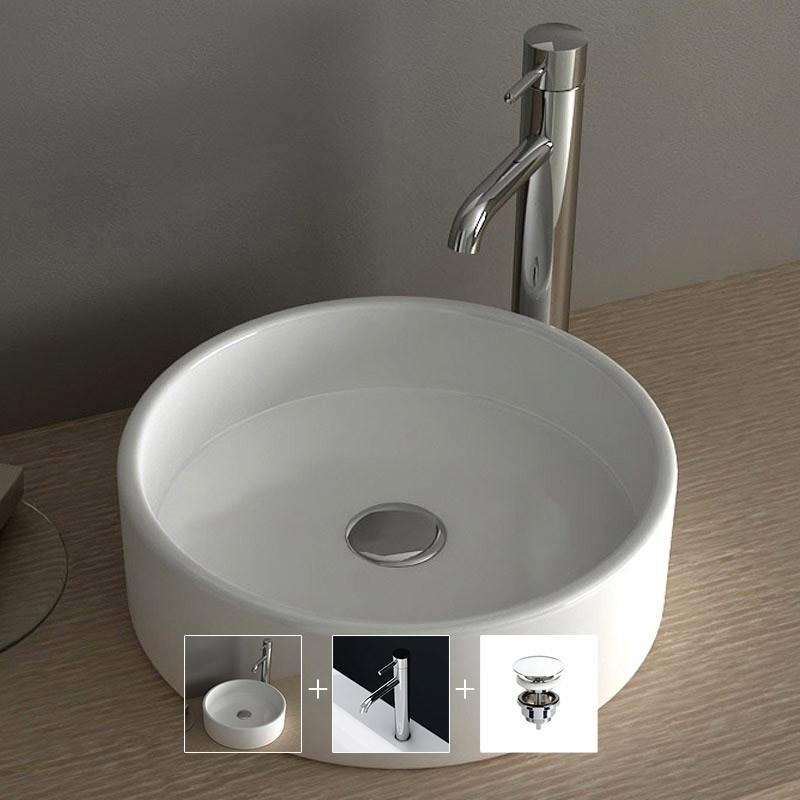 vasque poser ronde 35 cm c ramique pure. Black Bedroom Furniture Sets. Home Design Ideas