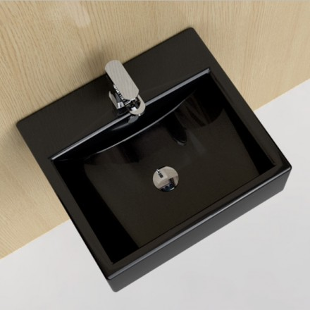lave mains suspendu noir 51x45 cm c ramique pure. Black Bedroom Furniture Sets. Home Design Ideas