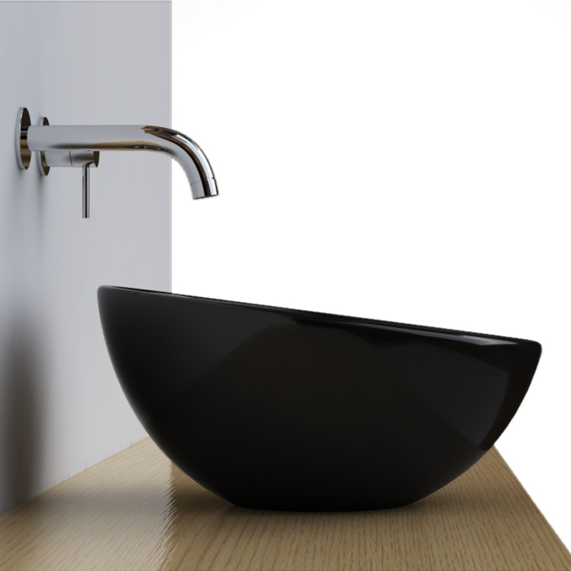 Vasque poser noire ronde bol 42 cm c ramique pure for Photos vasque salle de bain
