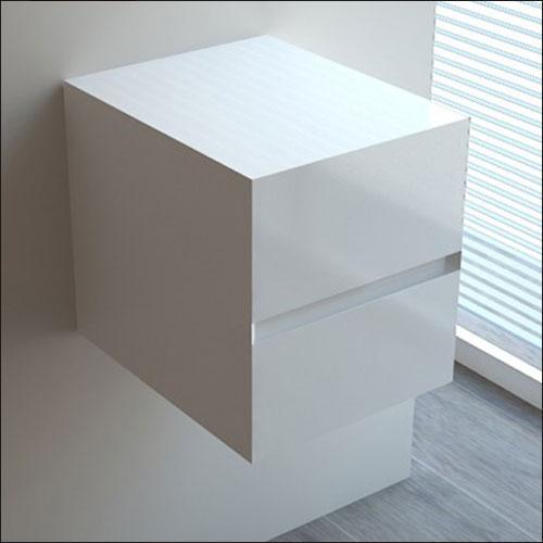Meuble salle de bain blanc 60 cm tiroir plan verre glass for Panneau fibre de verre salle de bain