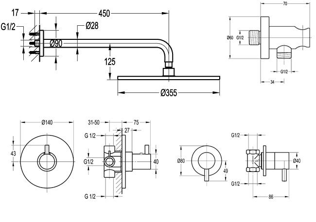 Pack promo douche encastrer thermostatique century 2 - Installation robinet de douche ...