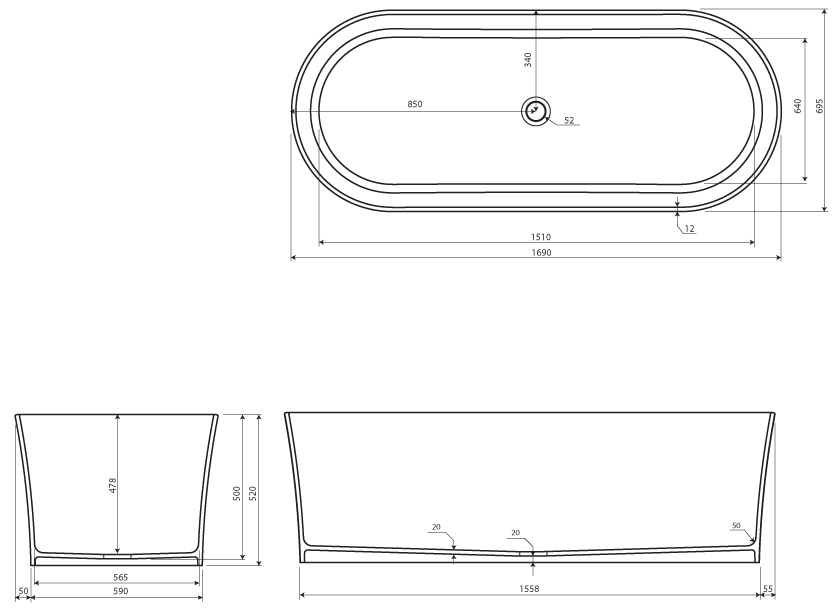 Baignoire ilot ovale 169x69 cm mat riau composite lumio for Baignoire 180x75