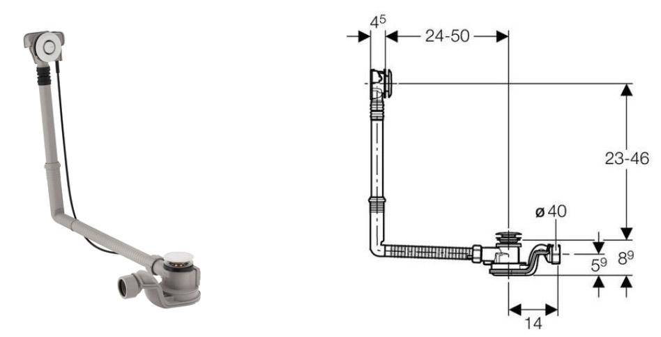 vidage baignoire geberit uniflex pushcontrol long. Black Bedroom Furniture Sets. Home Design Ideas