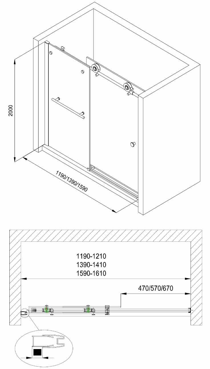 porte de douche coulissante rolling 120 160 cm. Black Bedroom Furniture Sets. Home Design Ideas
