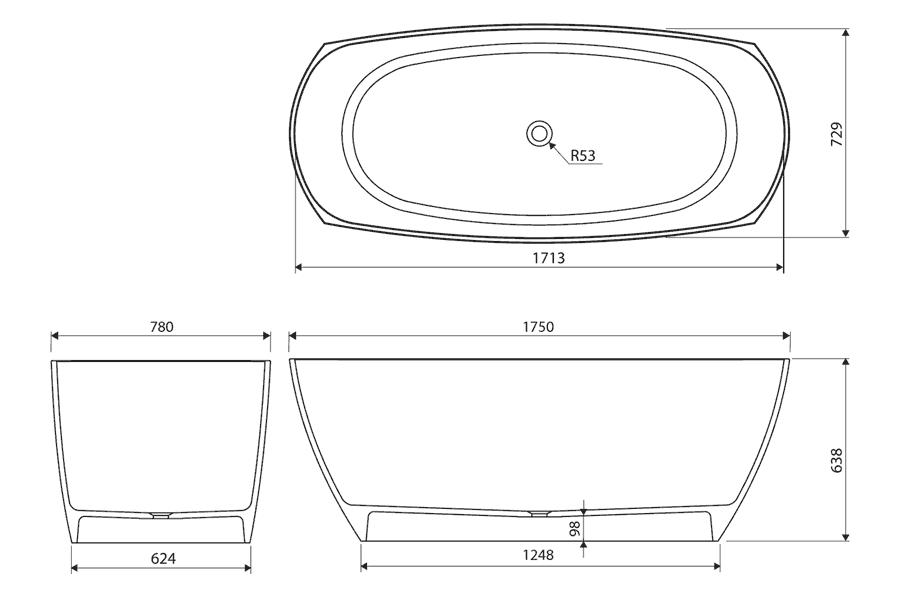Baignoire ilot ovale 175x77 cm mat riau composite creno for Baignoire 180x75