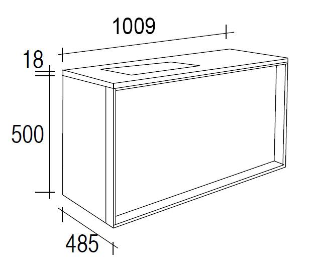 Meuble salle de bain ch ne 100 cm 1 tiroir plan for Meuble 80x30