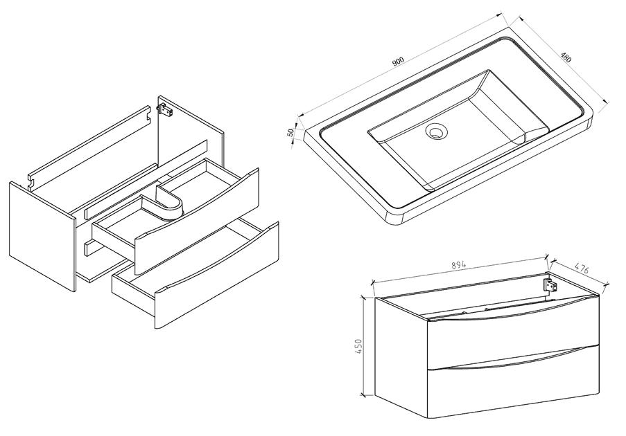 Meuble salle de bain 90 cm ch ne 2 tiroirs plan composite nature - Schema salle de bain ...