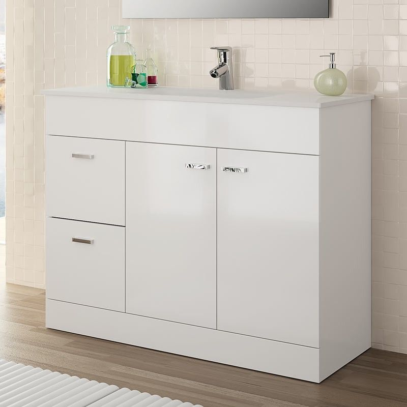 Meuble salle de bain 100 cm plan vasque porcelaine blanc for Meuble de salle de bain 2 portes