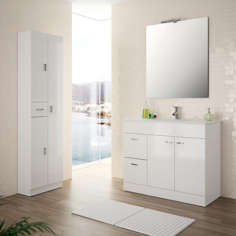 Meuble salle de bain 100 cm plan vasque porcelaine blanc for Meuble 2 portes salle de bain