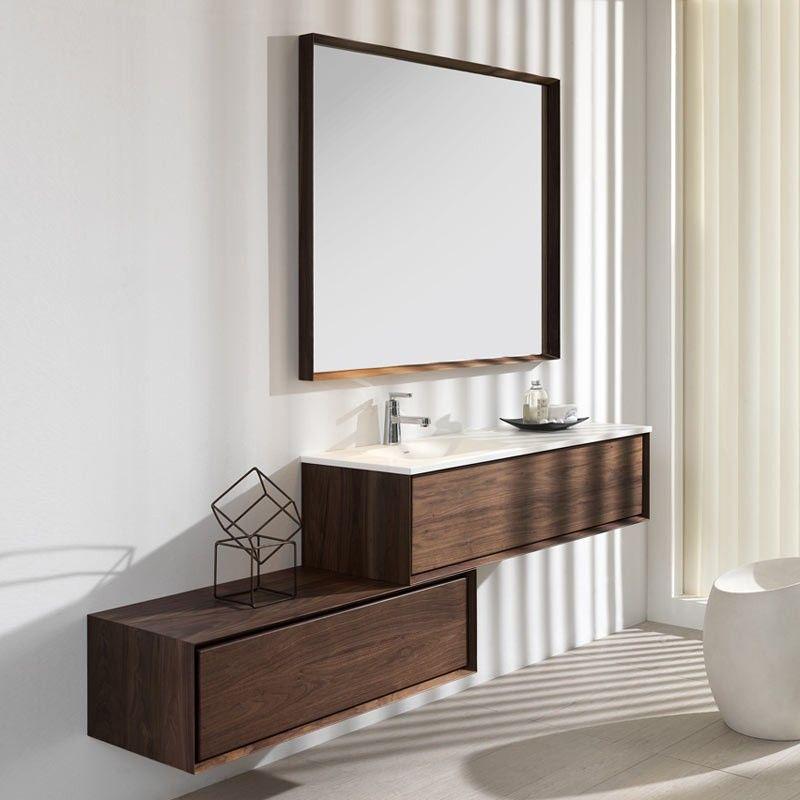 Meuble bas de rangement dokka noyer for Ou acheter des meubles de salle de bain