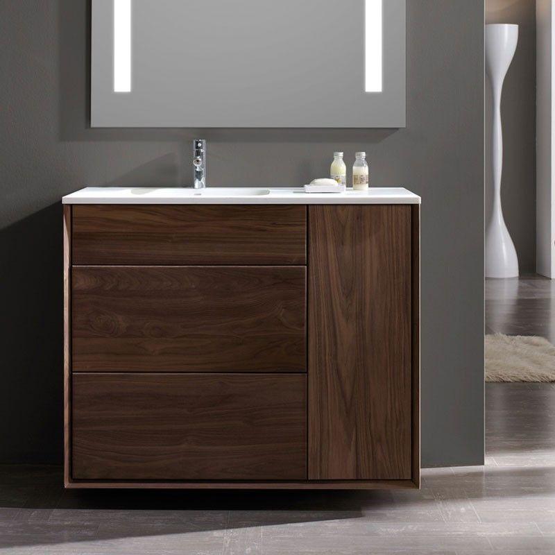 Meuble salle de bain en noyer 120 cm 2 tiroirs plan for Meuble salle de bain 120 cm porte