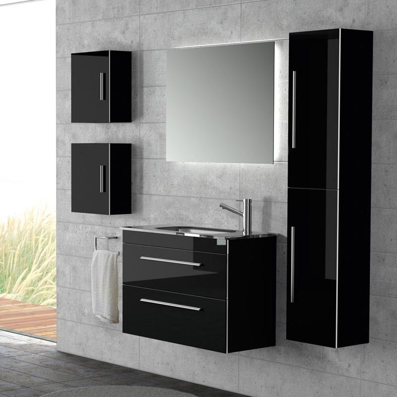 cube de rangement 40x35 cm 1 porte noir creta. Black Bedroom Furniture Sets. Home Design Ideas