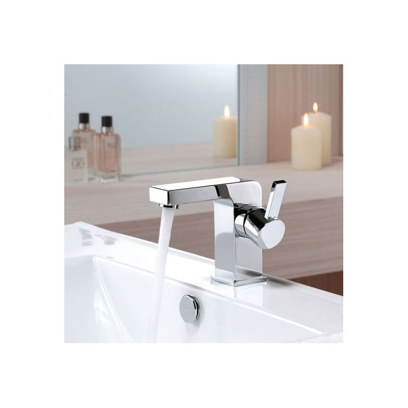 Pack promo meuble glass 150 blanc mitigeurs miroir - Miroir salle de bain 150 ...