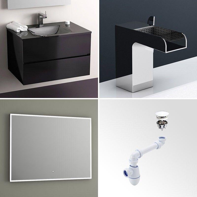 Pack promo meuble glass 75 noir miroir robinet bonde for Meuble salle de bain 75 cm