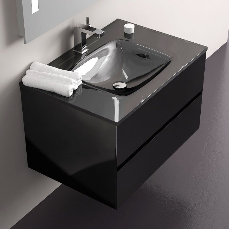 pack promo meuble glass 75 noir miroir robinet bonde siphon. Black Bedroom Furniture Sets. Home Design Ideas