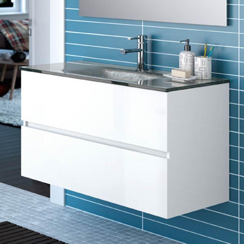 Meuble salle de bain 100 cm 2 tiroirs vasque verre for Meuble salle de bain vasque verre