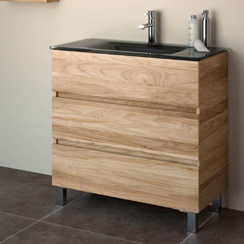 Meuble salle de bain 80 cm 3 tiroirs fussion line for Meuble salle de bain vasque verre