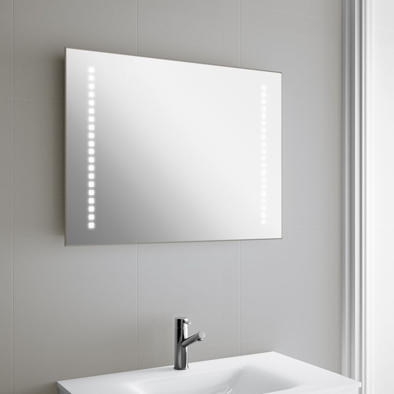 miroir lumineux led salle de bain 80x60 cm horizontal. Black Bedroom Furniture Sets. Home Design Ideas