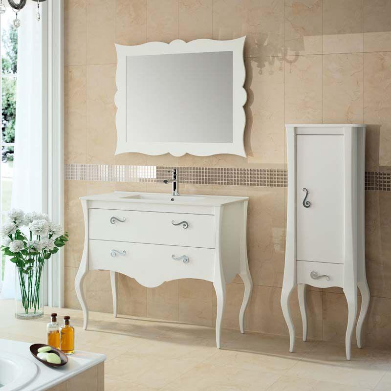 Meuble salle de bain 80 100 cm blanc 2 portes 1 tiroir for Meuble salle de bain 1 porte 1 tiroir