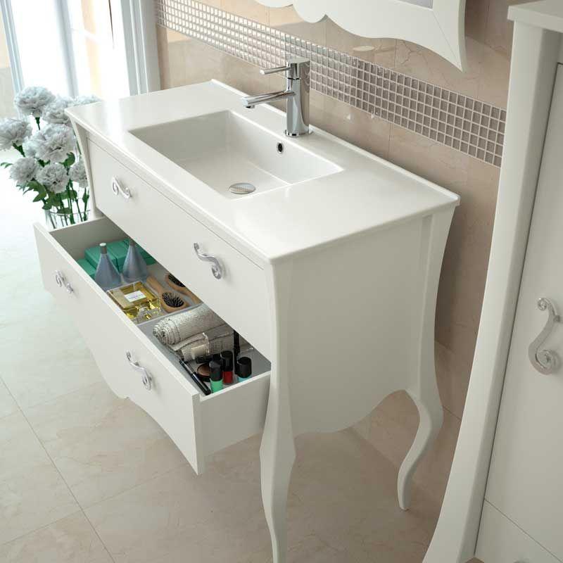 Meuble salle de bain 80 100 cm blanc 2 portes 1 tiroir for Bouton de porte de meuble de salle de bain