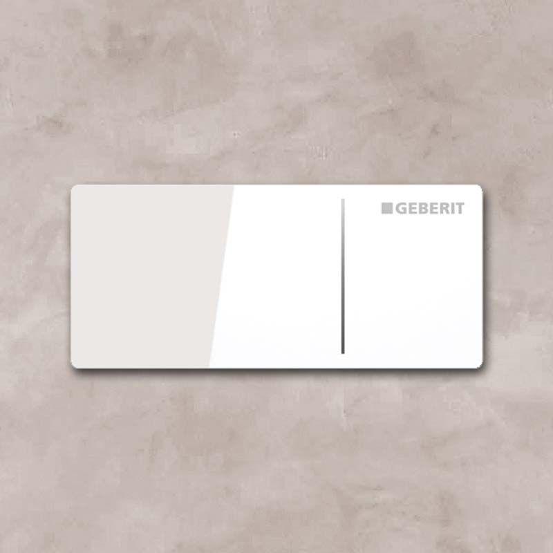 Commande déportée Geberit type 70, mur, cloison Omega 12 cm, verre blanc