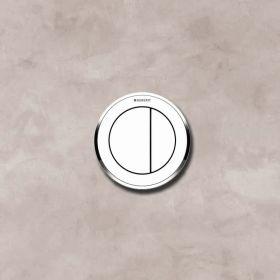 Commande déportée Geberit type 10 pneumatique, double touche,mur et cloison, blanc, chromé brillant
