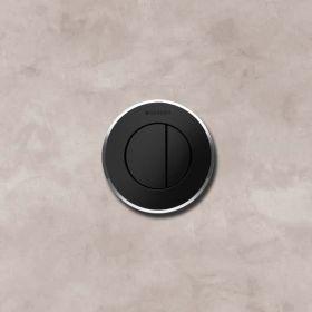 Commande déportée Geberit type 10 pneumatique, double touche,mur et cloison, noir, chromé brillant