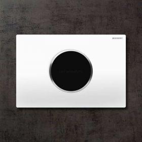 Plaque de déclenchement WC électronique double débit, Sigma 10, blanc, chromé brillant