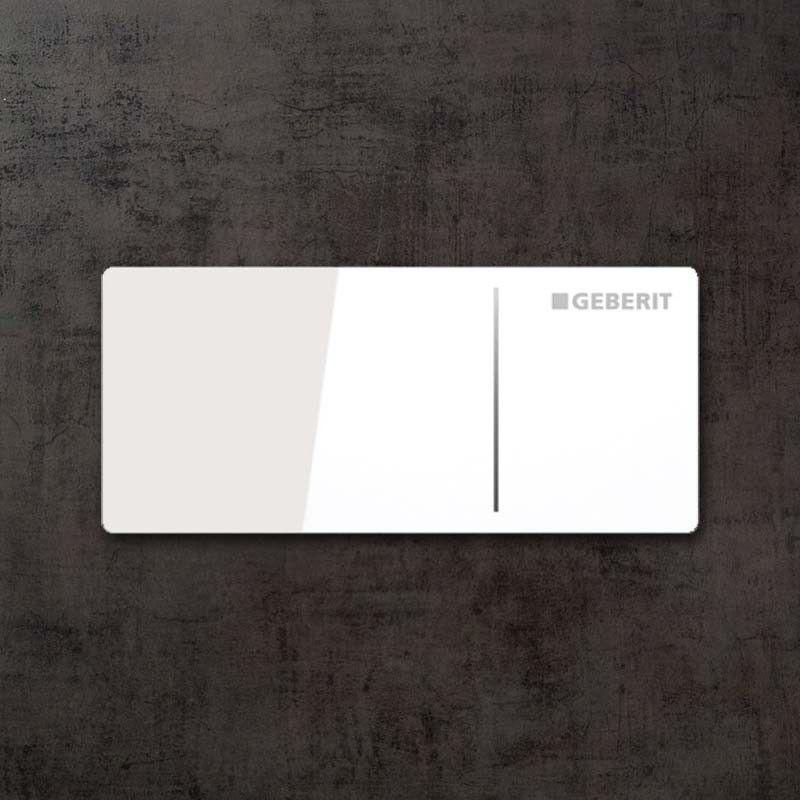Commande déportée Geberit type 70, mur, cloison, Sigma 8 cm, verre blanc