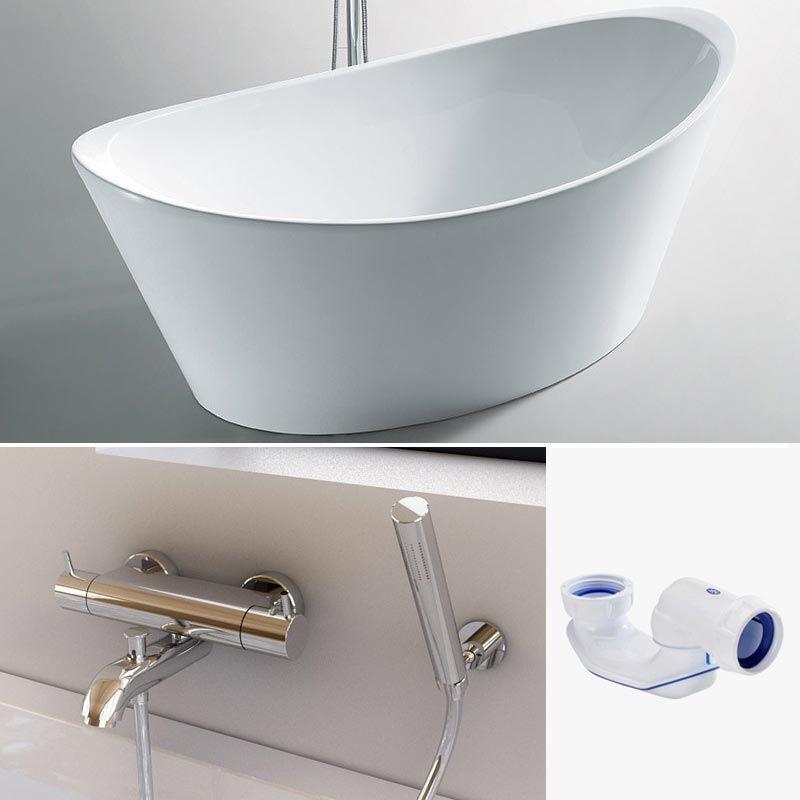 Pack promo baignoire ilot inizio robinet thermostatique mural century - Baignoire ilot discount ...