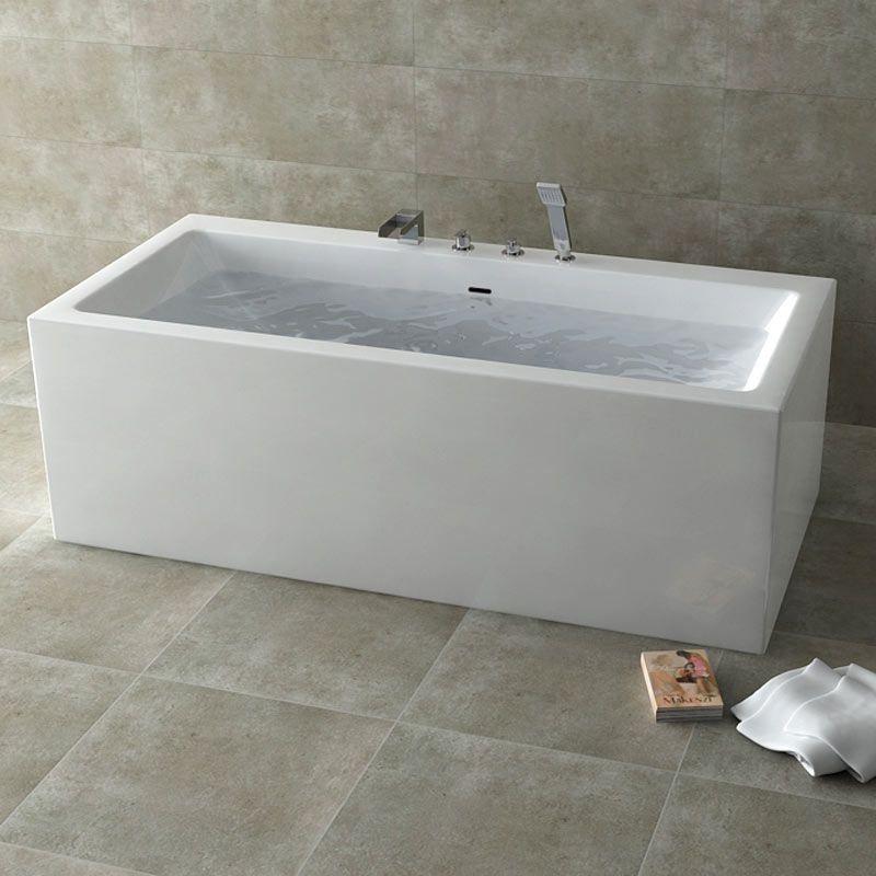Pack promo baignoire ilot dokos et mitigeur bain sur plage cascade - Baignoire ilot discount ...