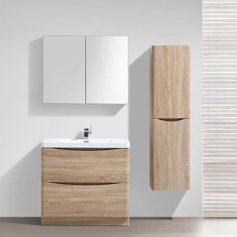 Meuble salle de bain 90 cm ch ne poser 2 tiroirs nature for Ou acheter meuble salle de bain