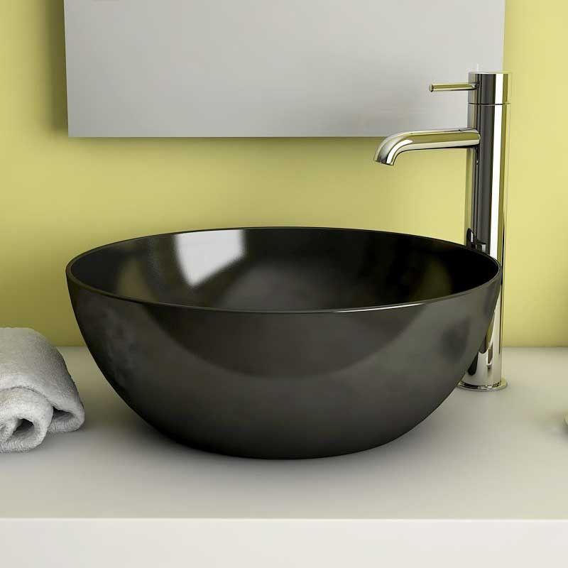 vasque poser ronde noir cm c ramique pure fine. Black Bedroom Furniture Sets. Home Design Ideas