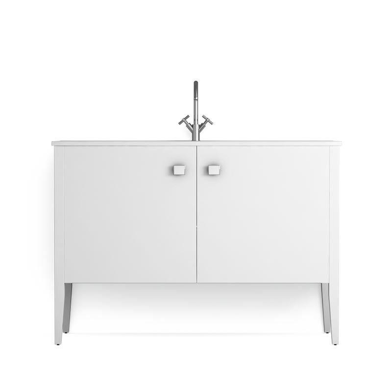 Meuble salle de bain blanc 120 cm 2 portes vasque for Meuble 2 portes salle de bain