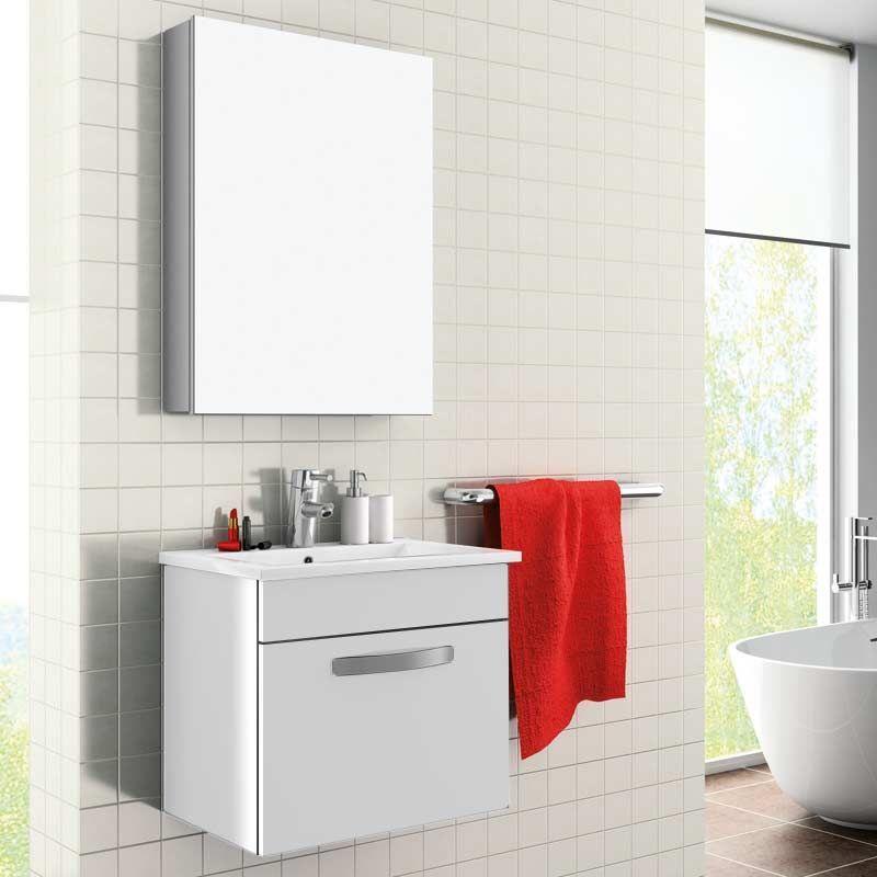 Meuble salle de bain 50 cm avec armoire de toilette toledo for Salle de bain avec toilette