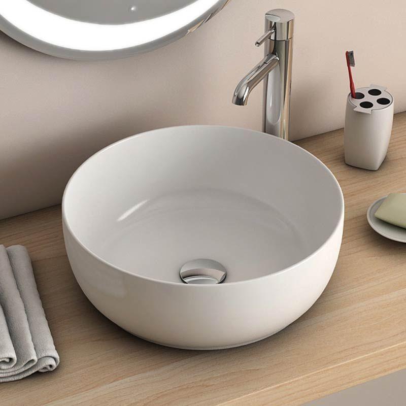 vasque poser ronde blanche 38 5 cm c ramique pure fine. Black Bedroom Furniture Sets. Home Design Ideas