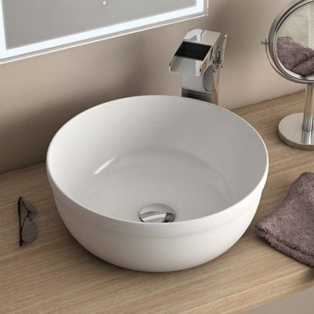 vasque poser ronde blanche 39 cm c ramique pure fine. Black Bedroom Furniture Sets. Home Design Ideas