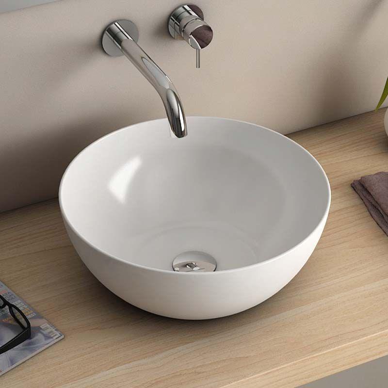 vasque poser ronde blanche cm c ramique pure fine. Black Bedroom Furniture Sets. Home Design Ideas