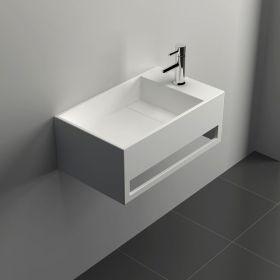 Lave mains suspendu 50x30 cm, matière composite, Mineral