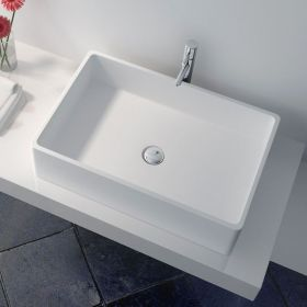 Vasque à poser, matière composite, rectangulaire 60x40 cm, Minéral