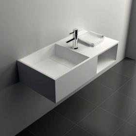 Plan vasque salle de bain suspendu 120x40 cm mineral - Lavabo faible profondeur ...