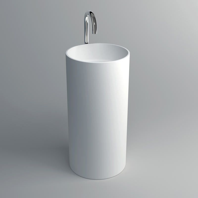 Lavabo à poser 40x82 cm, matière composite, Mineral