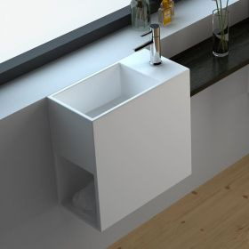 Lave main faible profondeur 40x20x40 cm, matière composite, droite ou gauche, Mineral